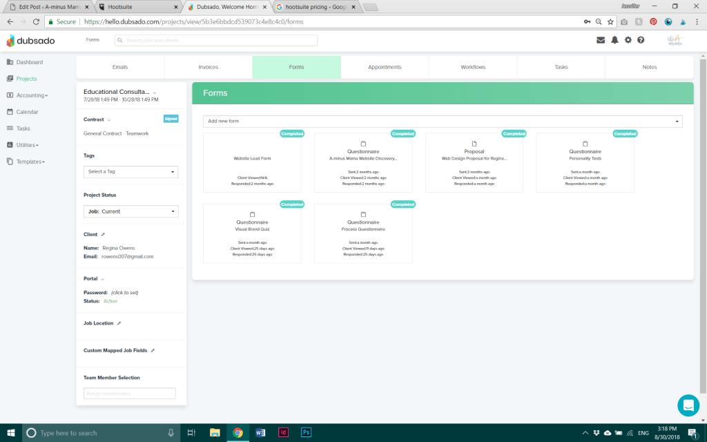 Dubsado project dashboard