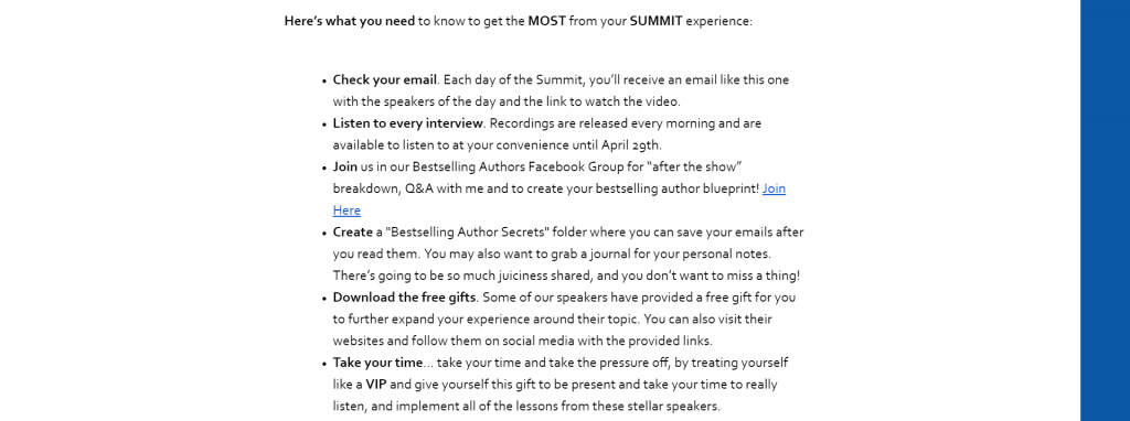 6 things to do to get the most out of the summit experience: check email every day, listen to every interview, join us for Facebook Live q&a sessions, create a special folder to save all the emails, download the free gifts, and take your time.