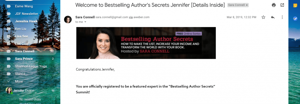 Email subject line: Welcome to Bestselling Author Secrets Jennifer [details inside]